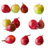 Set with Pears and Apples Royalty Free Stock Photos