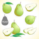 Set of pears with leaf in various styles Royalty Free Stock Photo