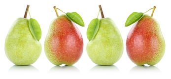 Set of pears pear fruit fruits in a row isolated on white Royalty Free Stock Photography