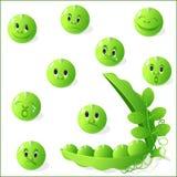 Set from peas, peas smilies. stock illustration