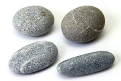 Set of pebbles on a white background Stock Photography