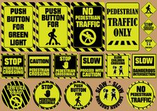 Set of pedestrian crossing traffic signs, can be use for road sign Stock Photography