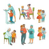 Set of pediatrician, doctor doing medical exam. Set of male and female pediatrician, doctor doing medical exam for kids, children,flat cartoon vector Stock Images