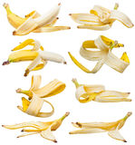 Set of peeled bananas and banana peels isolated Royalty Free Stock Image