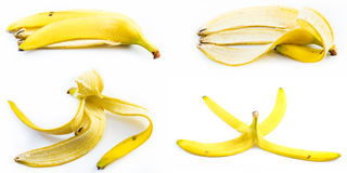 Set of peeled bananas on a white background Stock Photography
