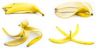 Set of peeled bananas on a white background Stock Photography