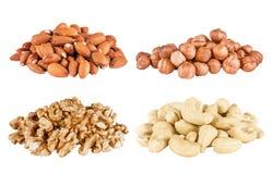 Set of  peeled  filbert, almonds, cashew Stock Photo