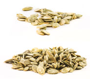 Set of peeled pumpkin seeds isolated Royalty Free Stock Images