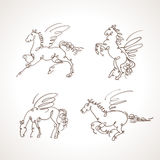 Set of pegasus vector Royalty Free Stock Photos