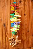 A set of pegs for drying clothes Royalty Free Stock Images