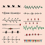 Set of Pen Drawing Seamless Borders Royalty Free Stock Image