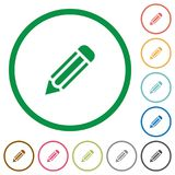 Pencil outlined flat icons. Set of pencil color round outlined flat icons on white background Royalty Free Stock Photography