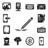 Set of Pencil, Smartphone, tooth, Cloud computing, Mailbox, Keyboard, Tablet, File, Smartphone icons. Set Of 13 simple editable icons such as Pencil, Smartphone Royalty Free Stock Images