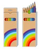 Set of pencils on box Stock Image