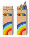 Set of pencils on box. Vector illustration isolated on white background Stock Image