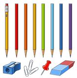 Set of pencils on box. Set pencils and stationery accessory vector illustration isolated on white background Royalty Free Stock Photo