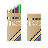 Set of pencils on box Royalty Free Stock Photos