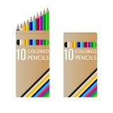 Set of pencils on box Royalty Free Stock Photos