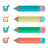 Set of pencils and check marks Royalty Free Stock Photography
