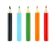 Set of pencils with clipping path. Royalty Free Stock Images