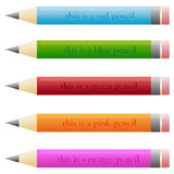 Set of pencils with funny descriptions. Set of different pencils with funny descriptions - computer illustrations Stock Photos