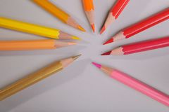 A set of pencils on a gray background royalty free illustration