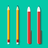 Set of pencils and handles in flat style Stock Images