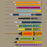 Set of Pencils Pens and Markers Royalty Free Stock Photos