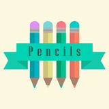 Set of pencils with a ribbon Royalty Free Stock Photos