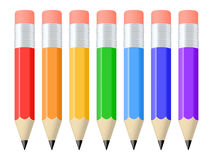 Set of pencils. Set of seven colorful pencils. Vector illustration Royalty Free Stock Photos