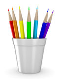 Set pencils on white background Stock Images