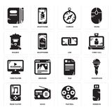 Set of Pendrive, Film reel, Music player, File, Video Link, Mailbox, Compass, Book icons. Set Of 16 simple  icons such as Pendrive, Film reel, Radio, Music Stock Photos