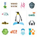 Set of penguin, chemical company, jellyfish, dice, cabbage, revolver, fight club, gavel, truck company icons. Set Of 13 simple  icons such as penguin, chemical Stock Photos