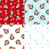 Set  of    penguin  Christmas  seamless  patterns Stock Images