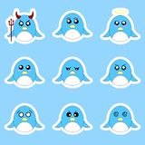 Set of penguin stickers. Different emotions, expressions. Sticker in anime style. Vector Illustration for your design. vector illustration