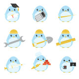 Set of penguins of various professions Stock Photo