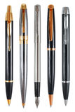 Set of pens with clipping paths. Set of prestigious pens captured from the side of pocket clips. Clipping paths included Stock Images