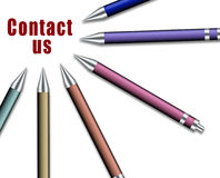 Set of pens directed to note contact us Stock Photo