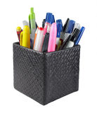 Set of pens and pencil in rack Royalty Free Stock Images