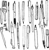 Set of pens and pencils vector illustration