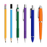 Set of pens and pensils. Royalty Free Stock Photography