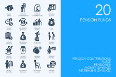 Set of pension funds icons Royalty Free Stock Image