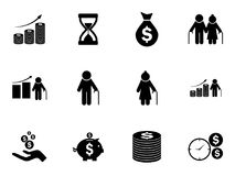 Set of pension funds icons. Vector pictograms Stock Photography