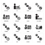 Set of Pensioner, Student, Support, Pirate, Plumber, Sailor, Firefighter, Singer, Politician icons. Set Of 16 simple  icons such as Pensioner, Student, Maid Stock Photos