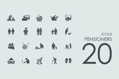 Set of pensioners icons Royalty Free Stock Photos