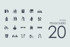 Set of pensioners icons Royalty Free Stock Image
