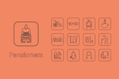 Set of pensioners simple icons Royalty Free Stock Photo