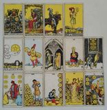 Set of pentacles tarot card. Royalty Free Stock Photos