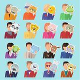 Set of People with Animal Masks Flat Design Vector. Set of different people with various animal masks in hand vector. Flat design. Masquerade animal clothing and Royalty Free Stock Photos