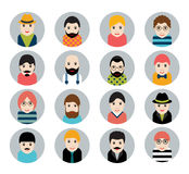 Set of people, avatar icons in flat stylized style. Man faces. Royalty Free Stock Photo